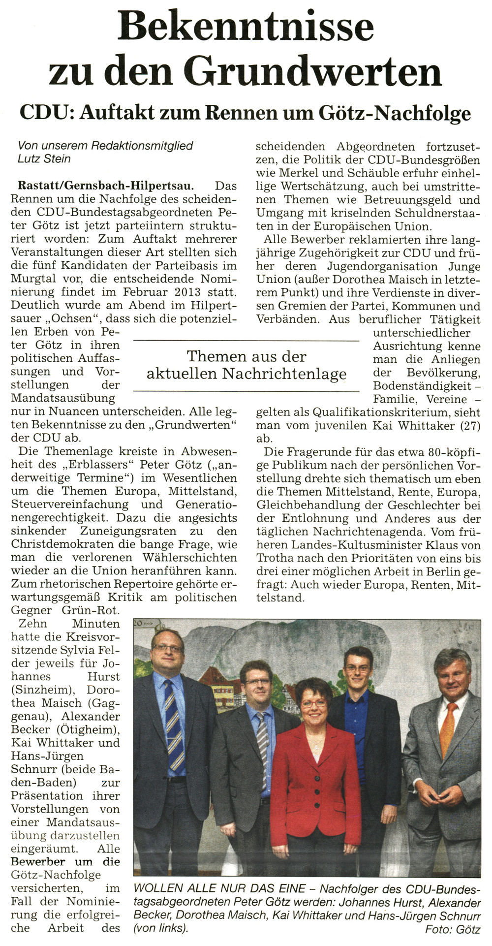 """Badische Neueste Nachrichten (BNN), 08.11.2012: """"Bekenntnisse zu den Grundwerten"""""""