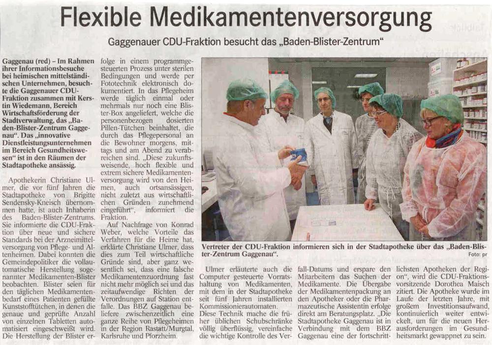 Badisches Tagblatt, 08.12.12: Flexible Medikamentenversorgung