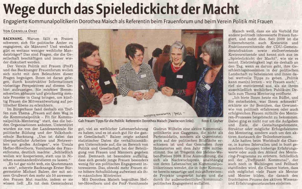 Backnanger Kreiszeitung, 05.02.2013: Wege durch das Spieledickicht der Macht