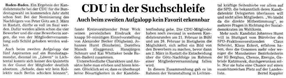 BNN (Rastatt), 06.12.12: CDU in der Suchschleife