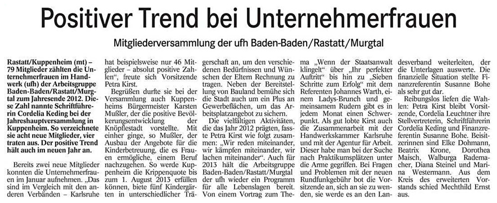 BT, 25.01.2013: Positiver Trend bei Unternehmerfrauen