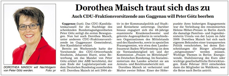 """Badische Neueste Nachrichten (BNN), 12.07.2012: """"Dorothea Maisch traut sich das zu"""""""