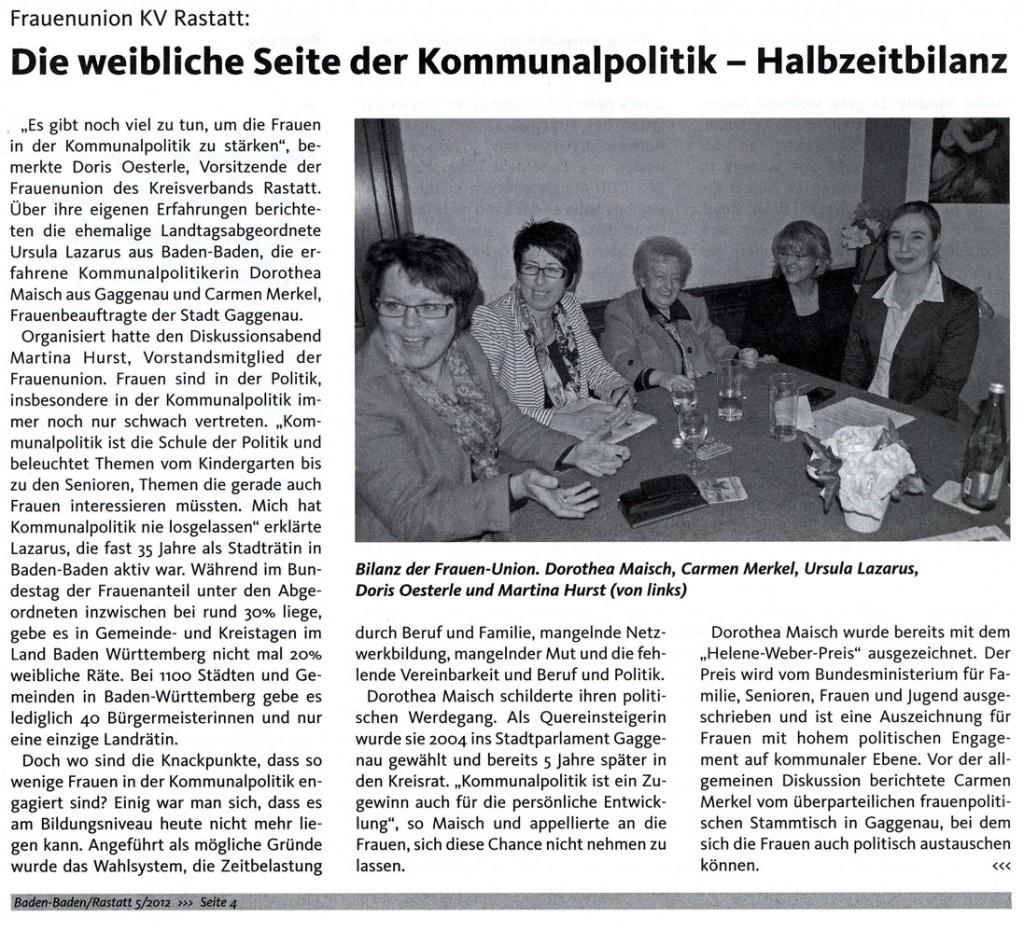 Frauenunion KV Rastatt: Die weibliche Seite der Kommunalpolitik – Halbzeitbilanz