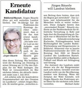 ABB (20.10.2012): Erneute Kandidatur – Jürgen Bäuerle will Landrat bleiben
