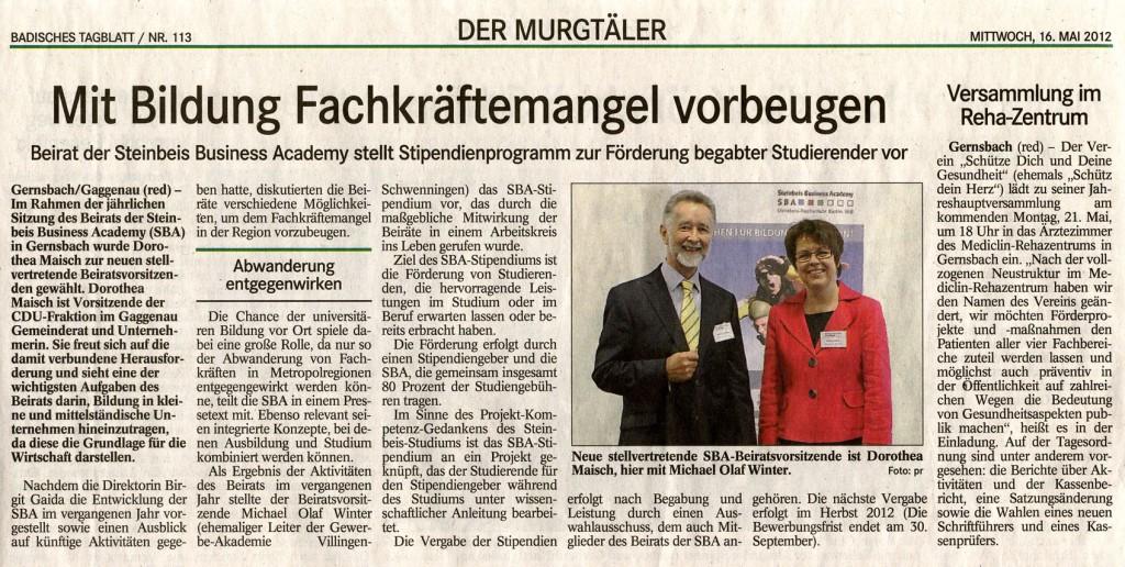 Badisches Tagblatt: Steinbeis Business Academy – Wahl zur stv. Beiratsvorsitzenden